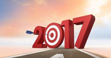 Darts target as 2017 on composite image of road