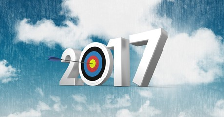Darts target as 2017 against a composite image 3D of clouds and