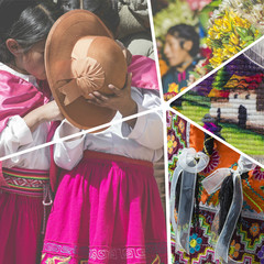 Collage of Peru traditional culture images - travel background (