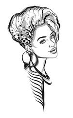 Beautiful line art woman illustration