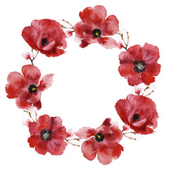 Wreath of poppies isolated on a white background, watercolor