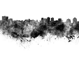 Wall Mural - Halifax skyline in black watercolor on white background