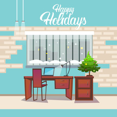 Empty Decorated Workplace Office Merry Christmas And Happy New Year Celebration Flat Vector Illustration