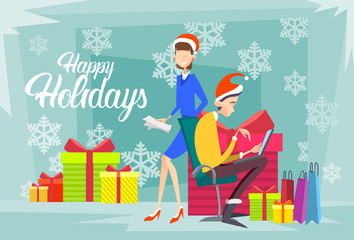 Business People Present Box Gift Merry Christmas And Happy New Year Flat Vector Illustration