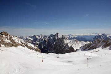 Ski tracks at Zugspitze Mountains, Germany
