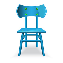 Blue chair icon in cartoon style isolated on white background. Furniture symbol vector illustration.