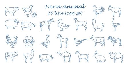 Farm animal thin line collection. 25 icon set. Flat design