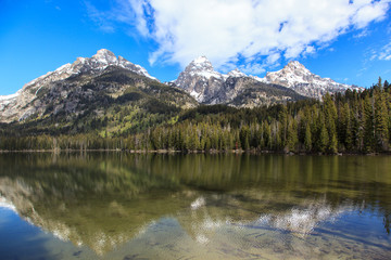 Snowy mountains and lakes. Grand Teton National Park.