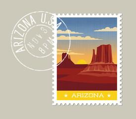 Arizona postage stamp design. Detailed vector illustration of scenic desert landscape with grunge postmark on separate layer