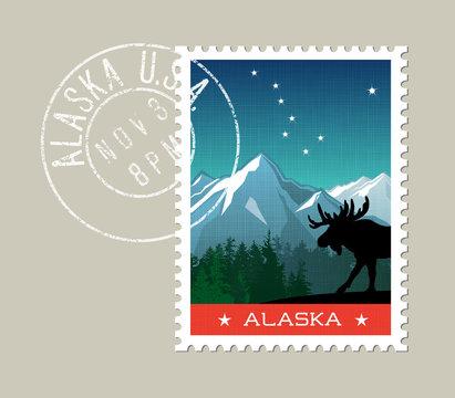 Alaska postage stamp design. Detailed vector illustration of scenic mountain landscape with grunge postmark on separate layer