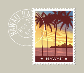 Hawaii postage stamp design. Vector illustration of tall palm trees at sunset. Grunge postmark on separate layer