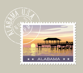 Alabama, postage stamp design. vector illustration of gulf coast with fishing pier. grunge postmark on separate layer