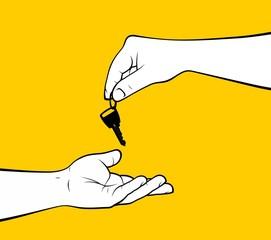 Man hand giving home key