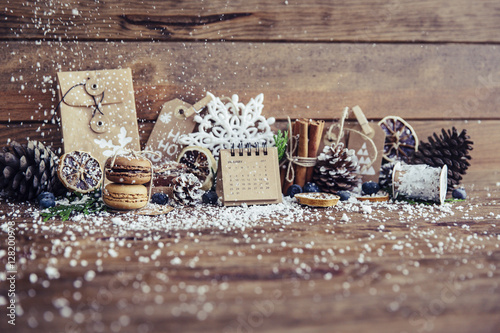Quot christmas decorations with fake snow stock photo and