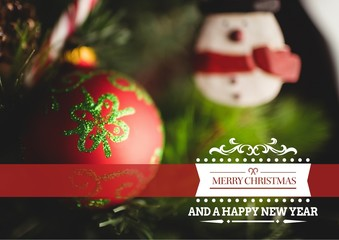 Composite image of merry christmas and happy new year against ch
