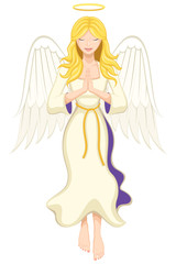 Vector illustration of an angel, praying.