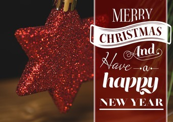 Digitally composite image of merry christmas and happy new year