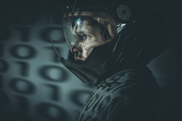 Military, Fantasy and science fiction scene, space man with meta