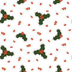 Vector seamless christmas pattern with holly berries and leaves on white background