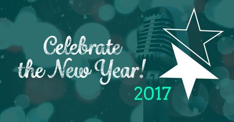 Composite image 3D of 2017 new year message with microphone
