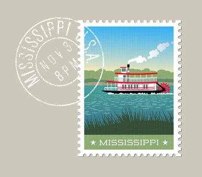 Mississippi postage stamp design. Vector illustration of steamship paddle boat on the river. Grunge postmark on separate layer
