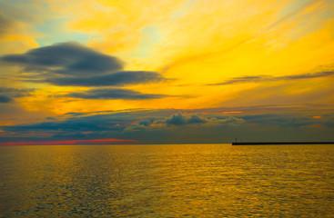 Beautiful sunset on the sea / twilight / background / blue hour / sundown/ sky