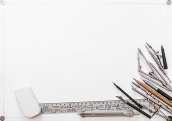 drawing tools on a background of white sheet
