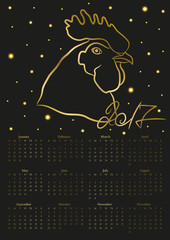 2017 year calendar with gold rooster