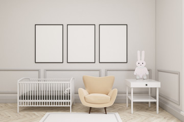Baby's room with a hare and three vertical posters