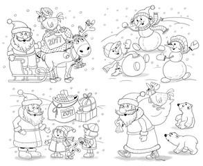 Set of Christmas greeting cards with cute Santa, reindeer, snowmen and kids