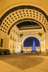 Christmas St. Petersburg. View of Palace Square through the arch