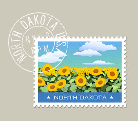 North Dakota postage stamp design. 
