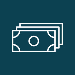 thin line cash, dollar, money icon on blue background