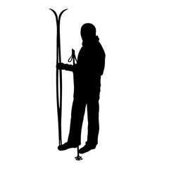 man skiing, skier, skiing, a vector object, the silhouette of the skier