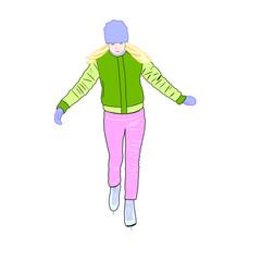 Girl skates, vector illustration, vector object, a girl on skates