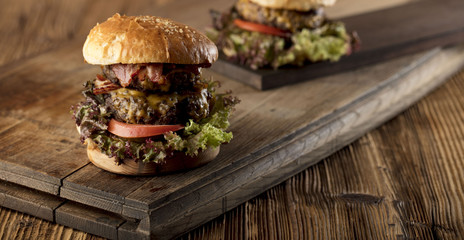 Fresh home-made hamburger served on wood, place for typography