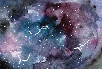 Watercolor space texture with glowing stars. Night starry sky. Vector illustration. watercolor background