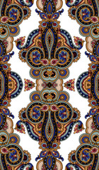 Seamless kaleidoscope abstract geometric paisley pattern. Traditional vertical textile oriental ornament. Textile design.