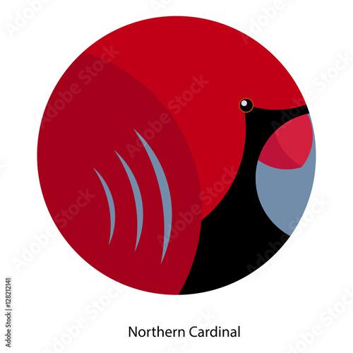 Geometric Round Symbol Of Northern Cardinal White Background Stock