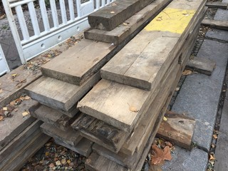Heap of wooden beams