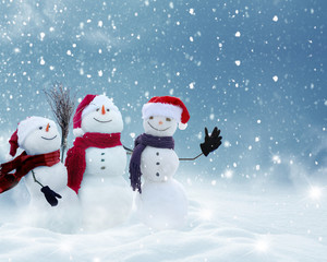 Many snowmen standing in winter Christmas landscape.