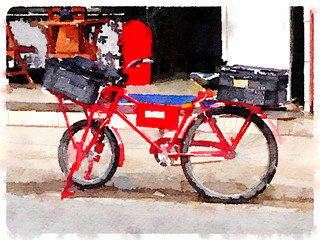 Digital watercolor painting of a red bicycle with a black basket on the front and a black basket on the back.