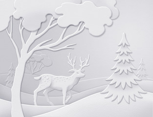 winter forest background, wild deer, white Christmas nature, greeting card template, paper cut