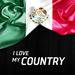 I Love my Country Mexico Abstract Flag. 3d illustration