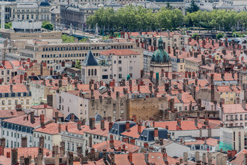 The panoramic aerial view at Lyon, Rhone-Alpes, France.