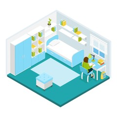 Girl Doing Homework Isometric Template