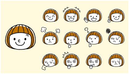女の子:顔、表情、セット
