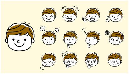 男の子:顔、表情、セット