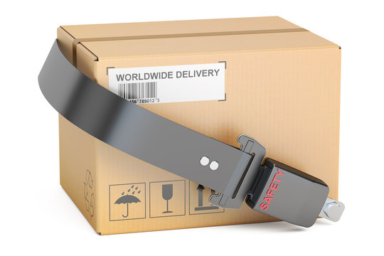 safety delivery concept, safety belt with cardboard box parcel.