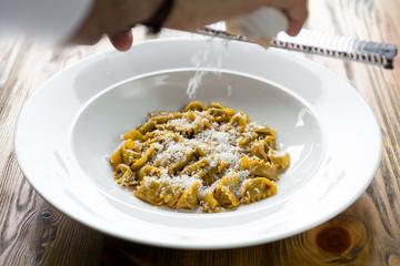 filled Italian pasta plate simple clean handmade ravioli parmesan cheese rustic plain dish lunch dinner